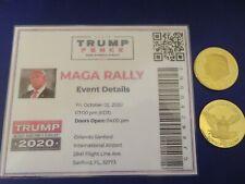RALLY NH 2020 Trump Coin PORTSMOUTH 02-10-2020,Ticket DONALD TRUMP MAGA