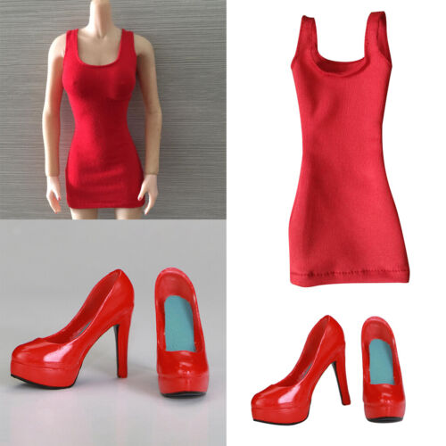 1//6 Scale Female One-piece Skirt /& High Heel Shoes for 12inch Action Figures