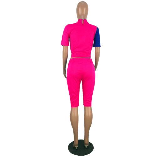 Fashion Women Short Sleeve Colorful Stripes Print Jumpsuit Casual Pants Set 2pc