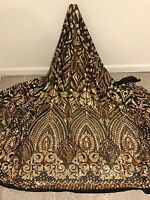 """BLACK STRETCH MESH W/GOLD  SEQUINS  EMBROIDERY FABRIC 50"""" WIDE 1 YARD"""