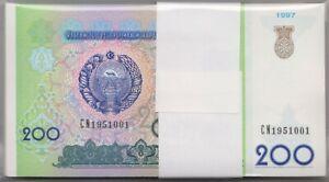 Mazuma *F794 Uzbekistan 1997 200 Som CN1951001-100 Stack 100 Running UNC