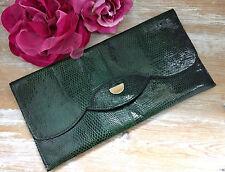 Vintage 60s 70s Green Lizard Envelope Clutch Bag. Excellent Condition