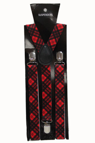 Tartan carreaux rouges réglable bretelles robe fantaisie homme femme clip sur Slim 2,5