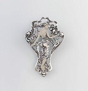 a6-01323-925-Argent-Broche-Art-Nouveau
