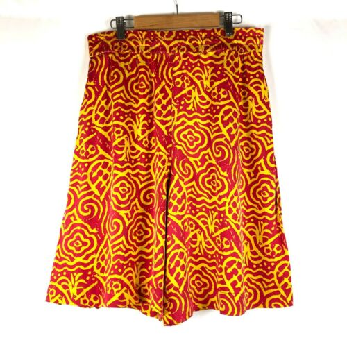 ACNE STUDIOS Culottes Pants Printed Silk Red Yello