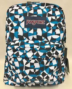 Details about NEW Jansport Superbreak Blue Dizzy Swirl Black White Backpack  School Bag w/ Tags