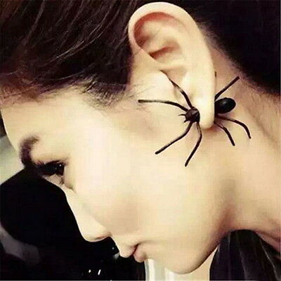 1Pcs Fashion Women Black Stereoscopic Spider Charm Ear Stud Piercing Earring XD