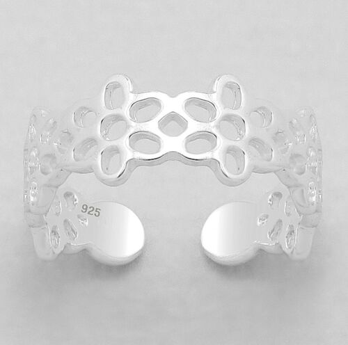 925 Silver Ring Toe Pinkie Midi Open Ends Adjustable Honeycombe Flower