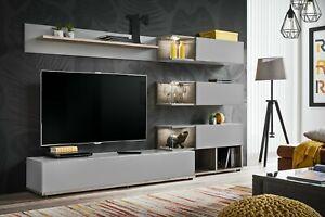 Parete attrezzata con led rovere e grigio mobile TV ...