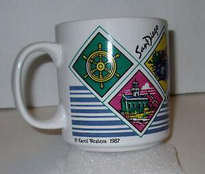 Karol-Western-Los-Angeles-Coffee-Mug-1987-Vintage-80s-Rare-California-Colorful