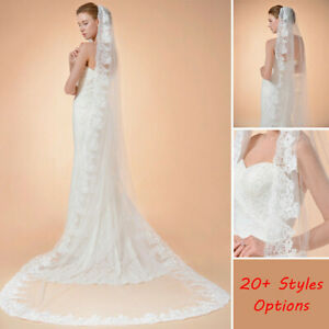 Wedding-Veils-Lace-Edge-Ivory-Fingertip-Length-Bridal-Veils-w-Comb-1-2-Layers