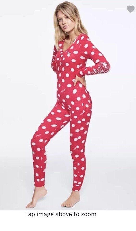Victoria Secret PINK Thermal one piece onesie pajama bling L Pjs dot Long Jane