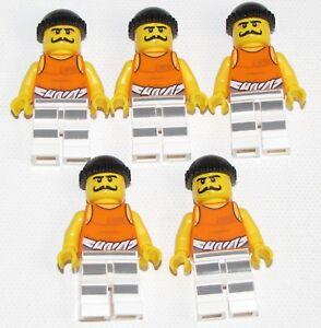 Lego New Minifigure Race Official Dark Blue Cap Orange Jacket Black Legs Figure
