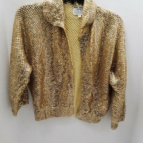 Vintage Gene Shelly Imports Gold Sequin Jacket Han