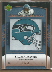2007-Upper-Deck-Premier-Stitchings-Gold-PS86-Shaun-Alexander-Jersey-39-50