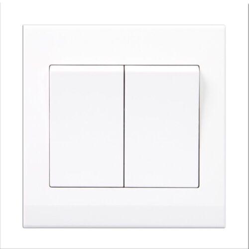 Simplicité en plastique blanc sans vis Rocker Interrupteur Lumière 2 Gang 2 Way 07020