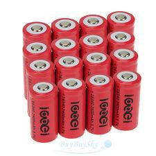 16x2400Mah 3.7V 16340 CR123A Li-ion Rechargeable Battery Cell Flashlight camera