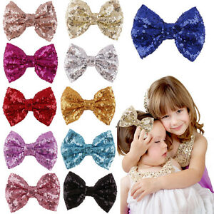 Baby-Girl-Kids-Sequin-Bowknot-Bow-Hair-Clip-Hair-Bow-Clips-Hair-Pins-Xmas-Gifts