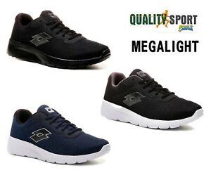 Lotto-Megalight-III-Nero-Blu-Scarpe-Uomo-Sportive-Running-Palestra-Offerta-2019