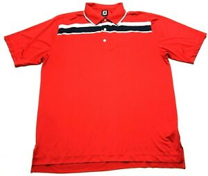 Footjoy-Mens-Red-Striped-Short-Sleeve-Polo-Golf-Shirt-Size-XL