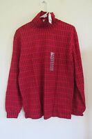 Women's Cascade Blues Long Sleeve Turtleneck Shirt Medium 10/12 Red/black
