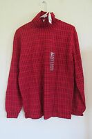 Women's Cascade Blues Long Sleeve Turtleneck Shirt Medium 10/12 Red/black