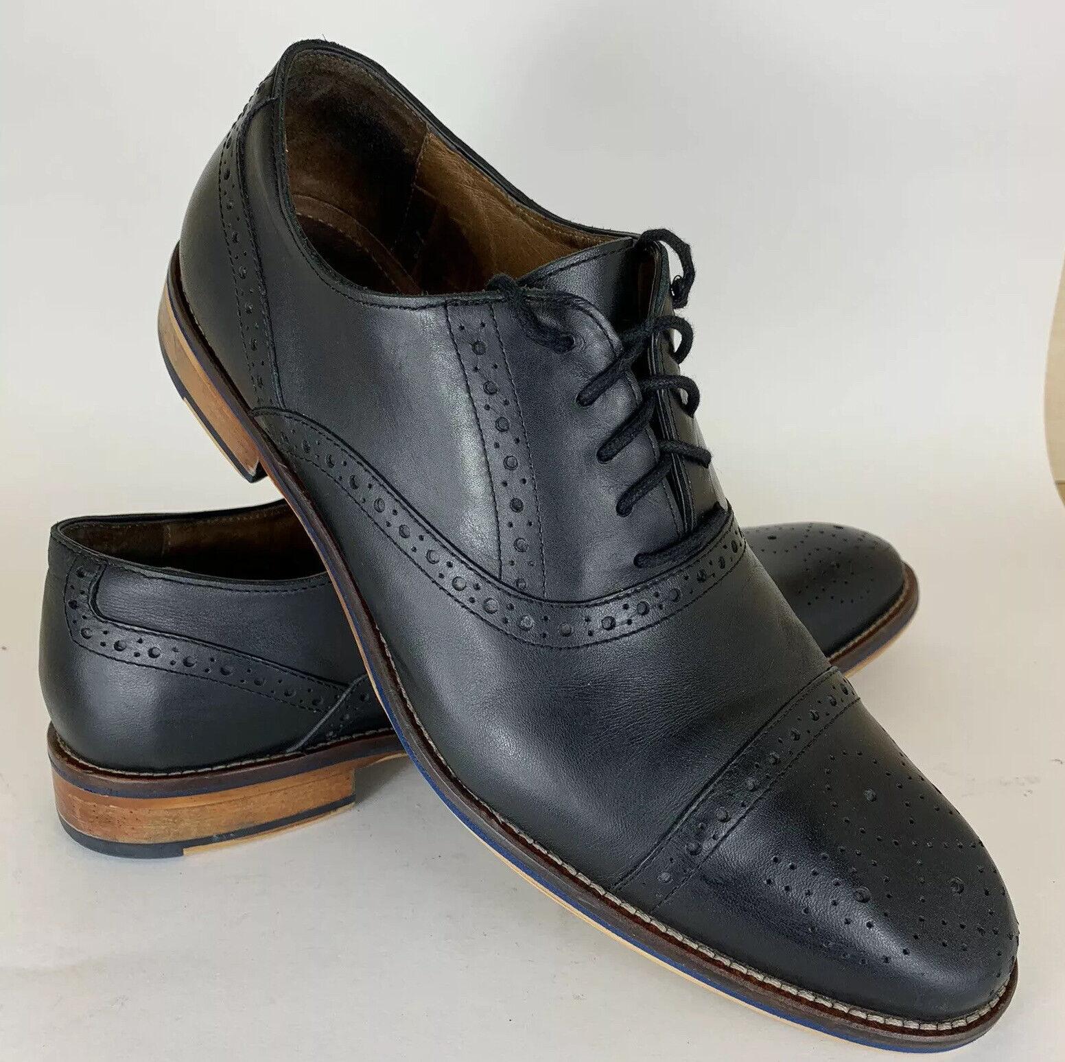 Johnston & Murphy 20-8681 Conard Black Leather Cap Toe Oxfords Mens 11 M Brogue