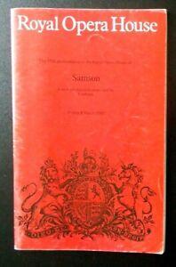 Samson programme Royal Opera House Covent Garden 8th March 1985 Jon Vickers