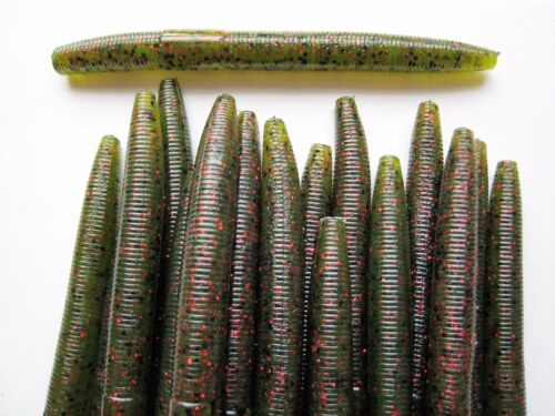 "WATERMELON RED FLAKE Soft Plastic Worms 30 pk 4/"" Senko Style SCENT/& SALT"