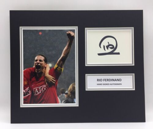 RARE Rio Ferdinand Manchester United Signed Photo Display +COA AUTOGRAPH MAN UTD