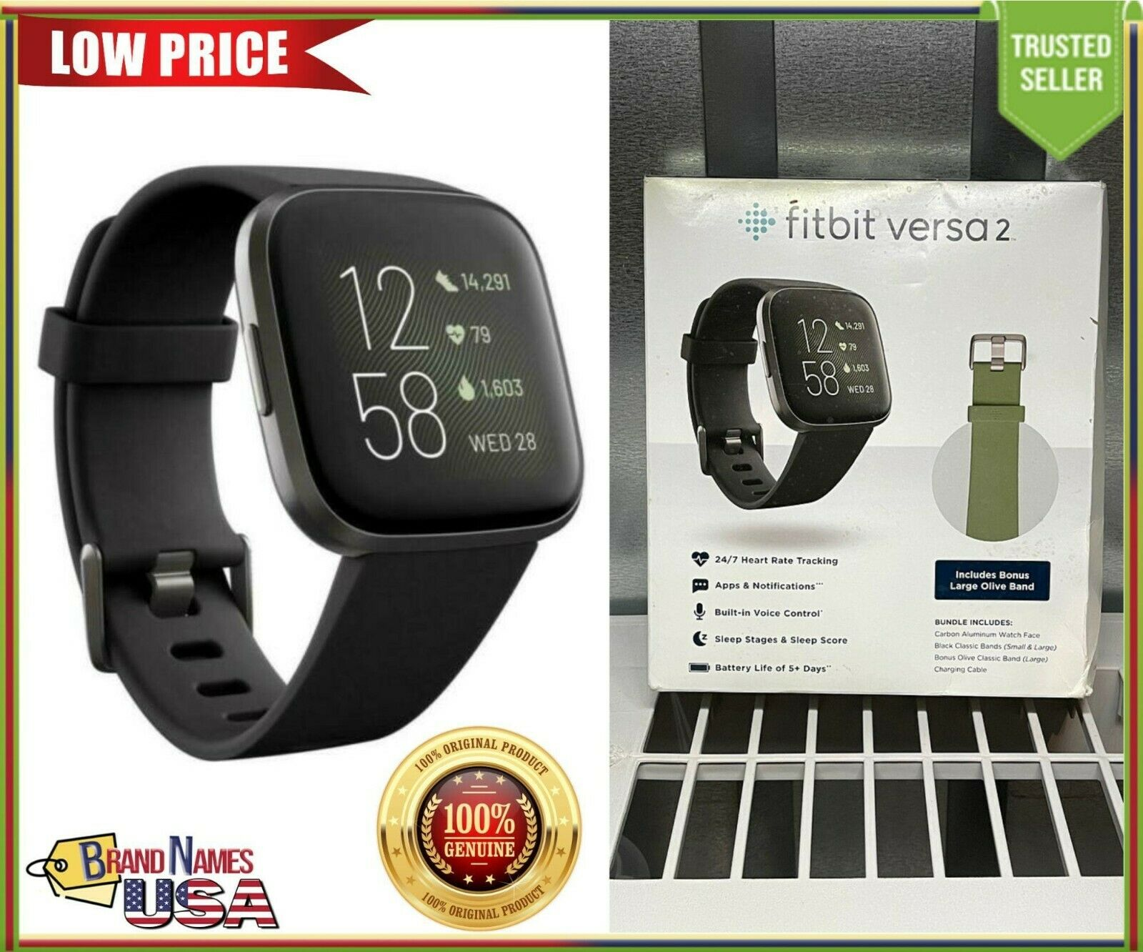 Fitbit Versa 2 Fitness Smartwatch Tracker with Extra Olive Green Band - GENUINE
