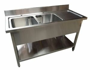 1400mm x 600mm commercial stainless steel rhd double bowl sink with rh ebay co uk stainless steel double bowl drop in kitchen sink stainless steel double bowl undermount kitchen sinks
