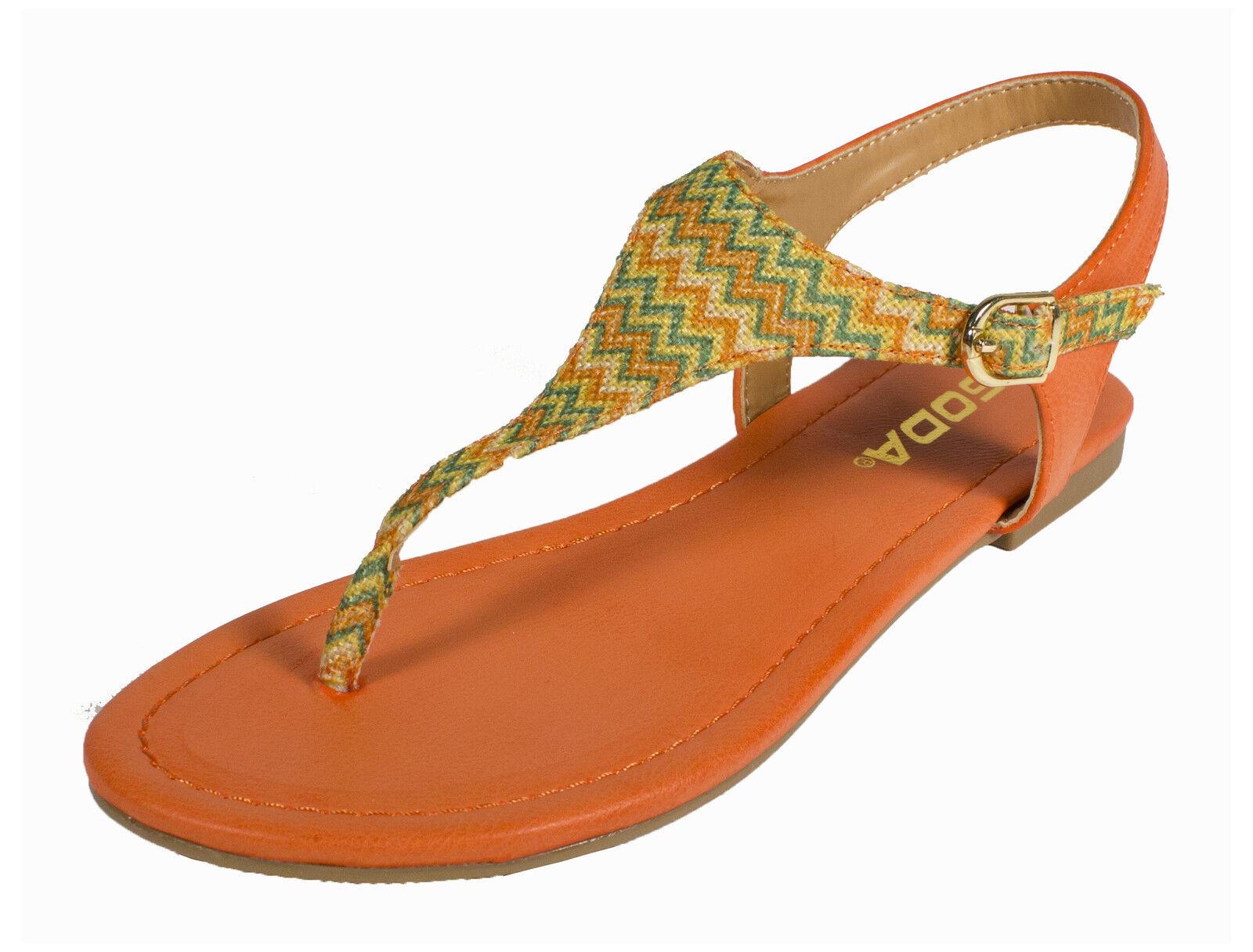 MOCHI! Women's Zig Sandal Zag Woven Thong Flats Sandal Zig in Orange Multi Color 1a931f