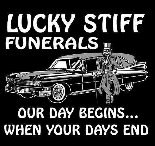 OUR DAY BEGINS WHEN YOUR DAYS END FUNERAL HEARSE SKULL SWEATSHIRT  SK84