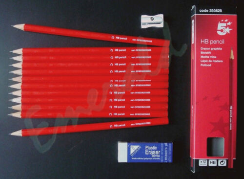 12 x HB Pencils Same Day Dispatch 1 x Metal Sharpener /& 1 x Rubber Eraser Kit