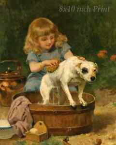 Washing Tub Girl Dog  8x10 Print Picture 2092 Bath Time by Louis De Schryver