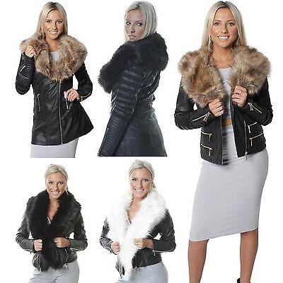 New Womens Ladies Black Jacket  Faux Fur Collar Leather Effect Longline  Coat