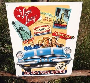 I-LOVE-LUCY-On-the-Road-Again-Sign-Tin-Vintage-Garage-Bar-Decor-Old-Rustic