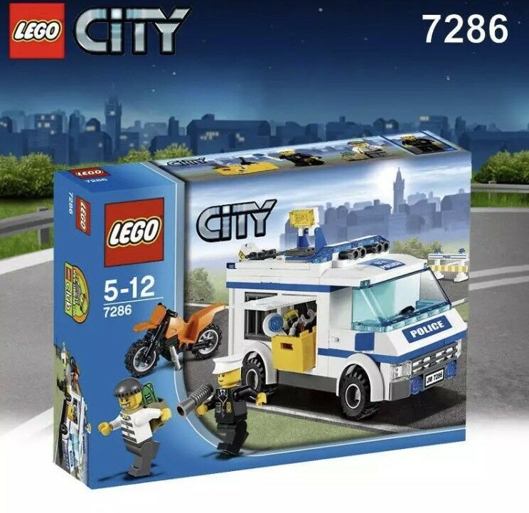 LEGO CITY 7286 PRISONER TRANSPORT SET POLICE VAN POLICEMAN BIKE MINIFIGURES NEW