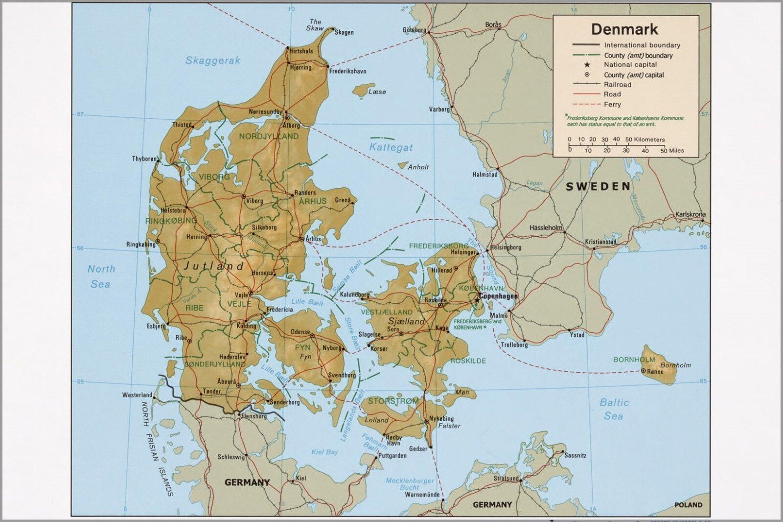 Poster, Many Größes; Cia Map Of Denmark 1999 P2