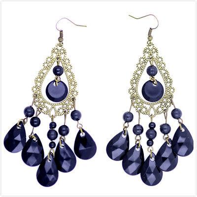 Boho style black chandelier earrings