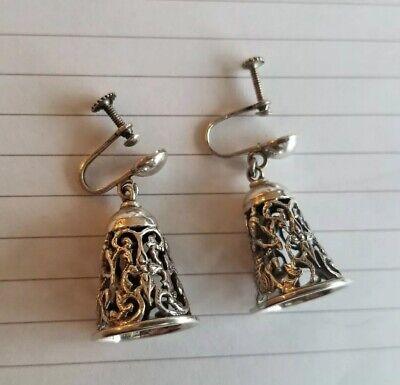 Vintage bronze bell earrings sterling silver.