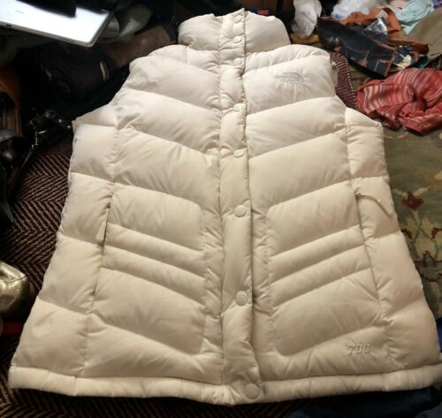 North Face 700 Goose Down Off White Vest Womens Sm