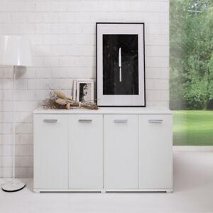 Dettagli su Credenza buffet bianco 180 cm cucina Mobile multiuso moderno  con 4 ante armadio