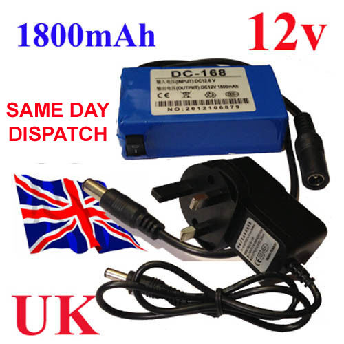 12V CCTV Battery Pack DC Portable 1800mAh Li-ion Rechargeable Christmas lightes