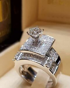Elegant Women Zircon Ring Jewelry Silver Color Engagement Wedding
