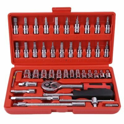 "46pcs Socket Ratchet Wrench Set 1/4"" Drive Flexiable Car Repairing Tools Kit"