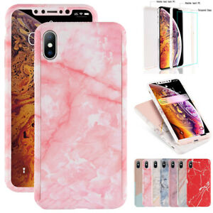 Case-For-iPhone-XS-XR-X-6S-7-8-Cover-360-Marble-Tempered-Glass-Shockproof-Hybrid
