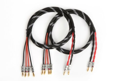 12 Ft. Canare 4S11 HI-FI Bi-Wire Speaker Cable Pair Flex Braided 2 to 4 Banana