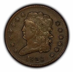 1828 1/2c Classic Head Half Cent - XF Original Coin - SKU-Y3280